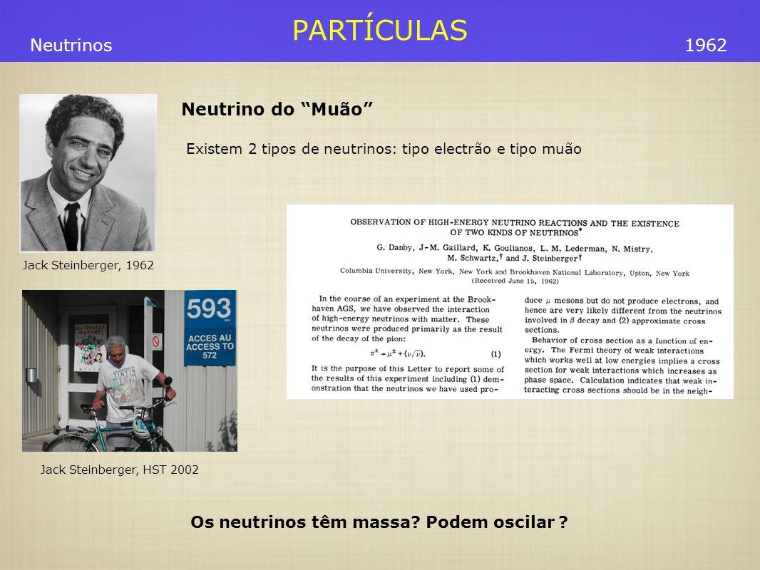 PARTÍCULAS Jack Steinberger, 1962 Os neutrinos têm massa? Podem oscilar ? Neutrino do Muão Existem 2 tipos de neutrinos: tipo electrão e tipo muão 196