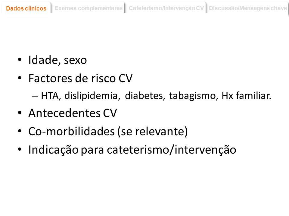Idade, sexo Factores de risco CV – HTA, dislipidemia, diabetes, tabagismo, Hx familiar. Antecedentes CV Co-morbilidades (se relevante) Indicação para
