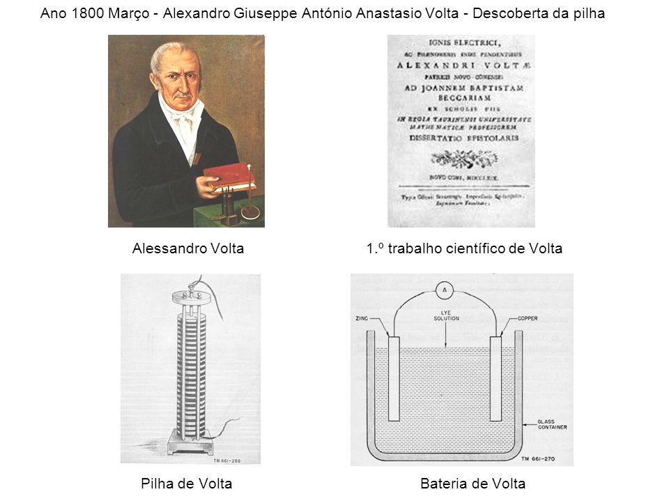 Ano 1800 Março - Alexandro Giuseppe António Anastasio Volta - Descoberta da pilha Alessandro Volta 1.º trabalho científico de Volta Pilha de Volta Bat