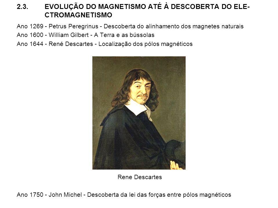 2.3.EVOLUÇÃO DO MAGNETISMO ATÉ À DESCOBERTA DO ELE- CTROMAGNETISMO Ano 1269 - Petrus Peregrinus - Descoberta do alinhamento dos magnetes naturais Ano