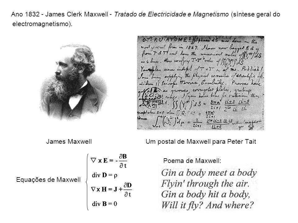 Ano 1832 - James Clerk Maxwell - Tratado de Electricidade e Magnetismo (síntese geral do electromagnetismo). James Maxwell Um postal de Maxwell para P