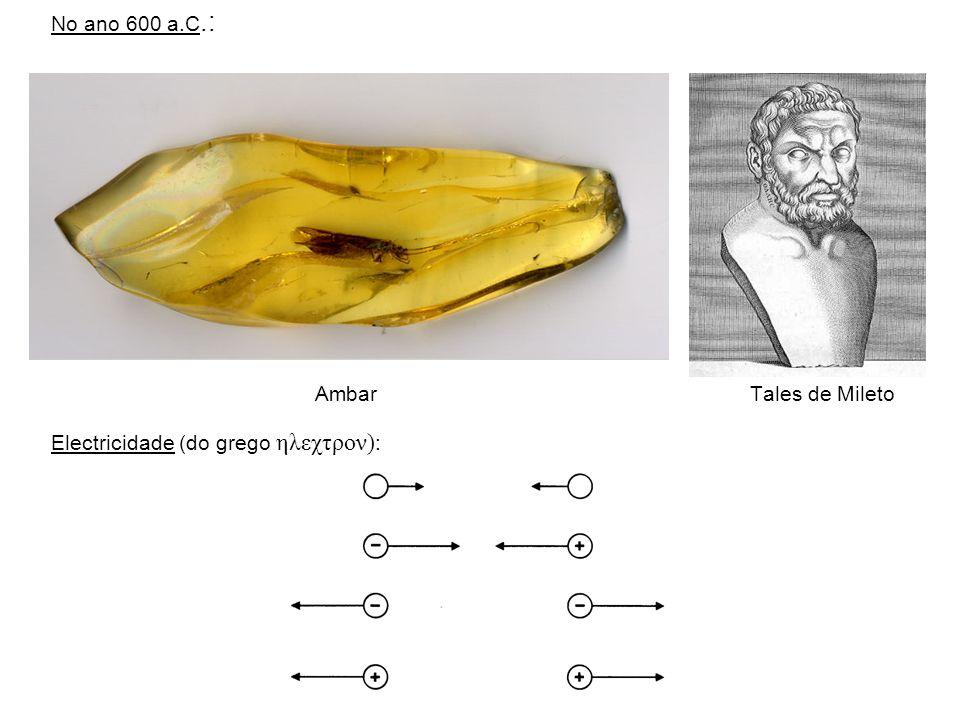 No ano 600 a.C.: Ambar Tales de Mileto Electricidade (do grego ηλεχτρον) :