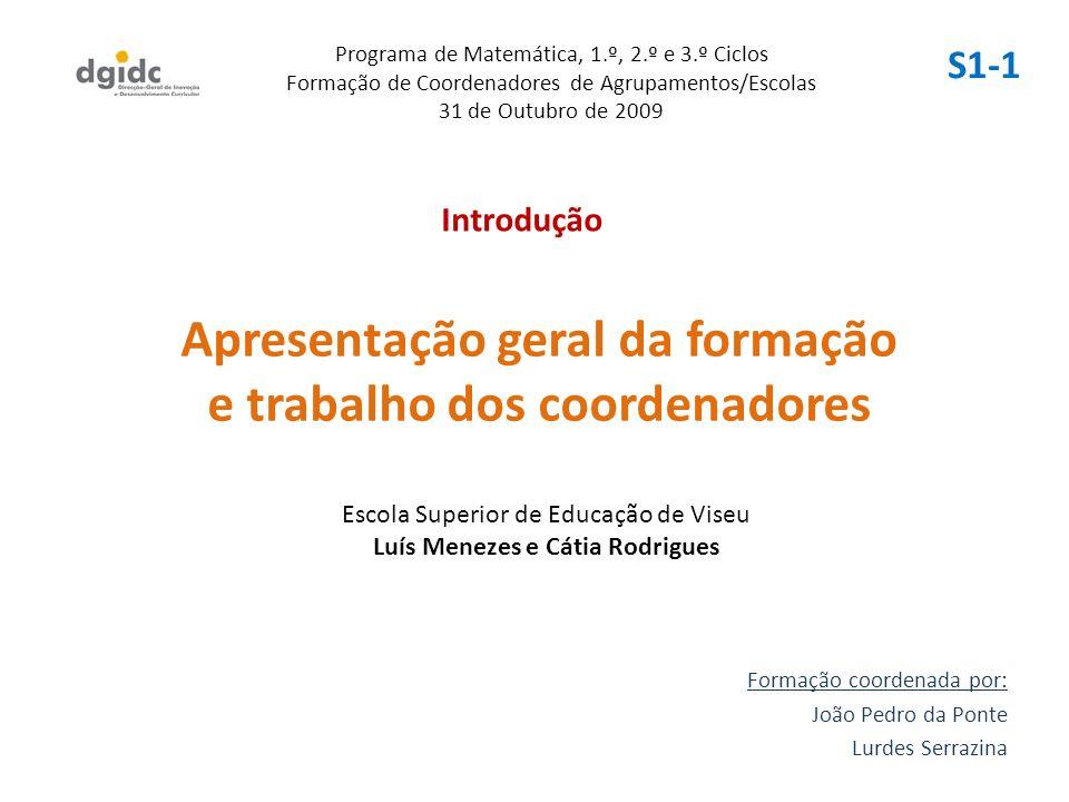 Apresentação geral da formação e trabalho dos coordenadores Formação coordenada por: João Pedro da Ponte Lurdes Serrazina Programa de Matemática, 1.º,