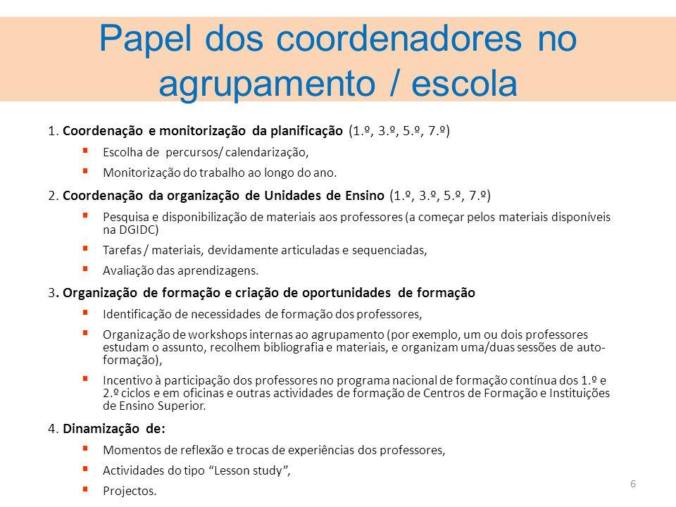 6 Papel dos coordenadores no agrupamento / escola 1. Coordenação e monitorização da planificação (1.º, 3.º, 5.º, 7.º) Escolha de percursos/ calendariz