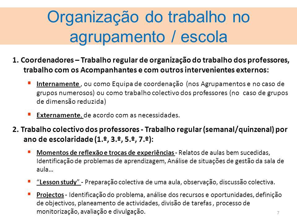 7 Organização do trabalho no agrupamento / escola 1. Coordenadores – Trabalho regular de organização do trabalho dos professores, trabalho com os Acom