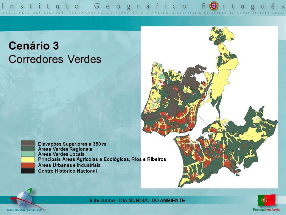 5 de Junho - DIA MUNDIAL DO AMBIENTE Cenário 3 Corredores Verdes Elevações Superiores a 350 m Áreas Verdes Regionais Áreas Verdes Locais Principais Ár