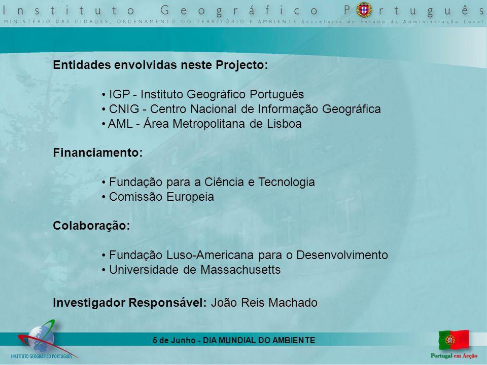 5 de Junho - DIA MUNDIAL DO AMBIENTE Entidades envolvidas neste Projecto: IGP - Instituto Geográfico Português CNIG - Centro Nacional de Informação Ge