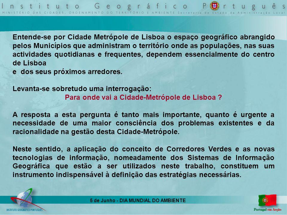 5 de Junho - DIA MUNDIAL DO AMBIENTE Entende-se por Cidade Metrópole de Lisboa o espaço geográfico abrangido pelos Municípios que administram o territ