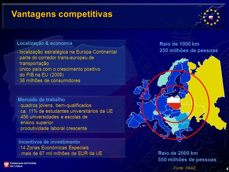 4 Vantagens competitivas Localização & economia localização estratégica na Europa Continental parte do corredor trans-europeu de transportação único país com o crescimento positivo do PIB na EU (2009) 38 milhões de consumidores Incentivos de investimento 14 Zonas Económicas Especiais mais de 67 mil milhões de EUR da UE Incentivos de investimento 14 Zonas Económicas Especiais mais de 67 mil milhões de EUR da UE Mercado do trabalho quadros jovens, bem-qualificados ca.