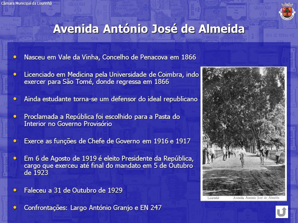 Avenida António José de Almeida Nasceu em Vale da Vinha, Concelho de Penacova em 1866 Nasceu em Vale da Vinha, Concelho de Penacova em 1866 Licenciado