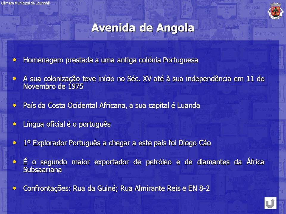 Avenida de Angola Homenagem prestada a uma antiga colónia Portuguesa Homenagem prestada a uma antiga colónia Portuguesa A sua colonização teve início
