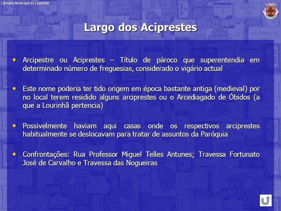 Largo dos Aciprestes Arcipestre ou Aciprestes – Título de pároco que superentendia em determinado número de freguesias, considerado o vigário actual A