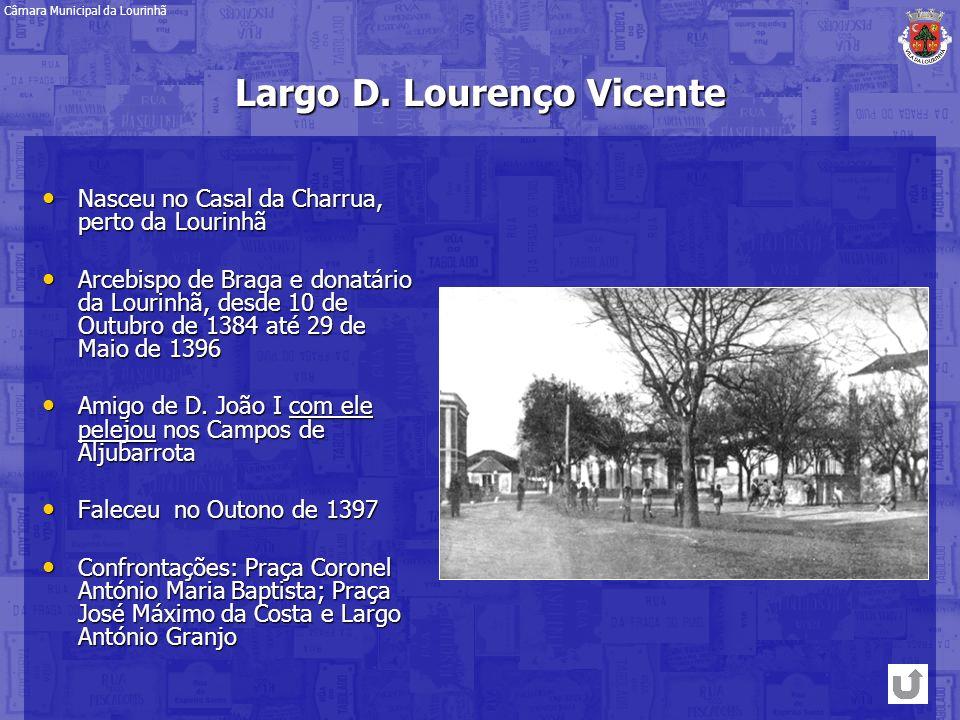 Largo D. Lourenço Vicente Nasceu no Casal da Charrua, perto da Lourinhã Nasceu no Casal da Charrua, perto da Lourinhã Arcebispo de Braga e donatário d
