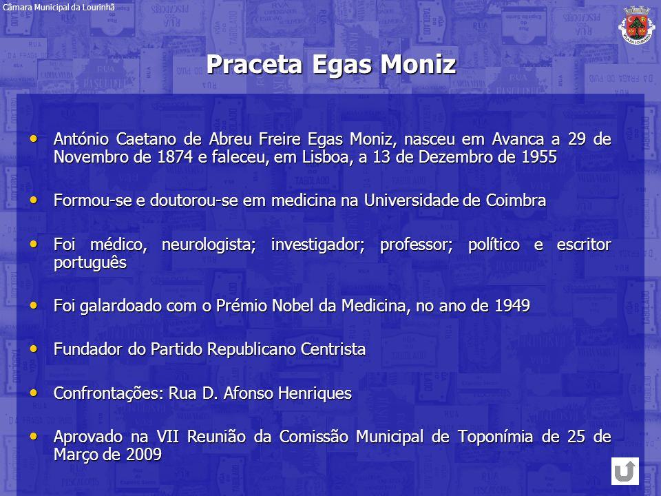 Praceta Egas Moniz António Caetano de Abreu Freire Egas Moniz, nasceu em Avanca a 29 de Novembro de 1874 e faleceu, em Lisboa, a 13 de Dezembro de 195
