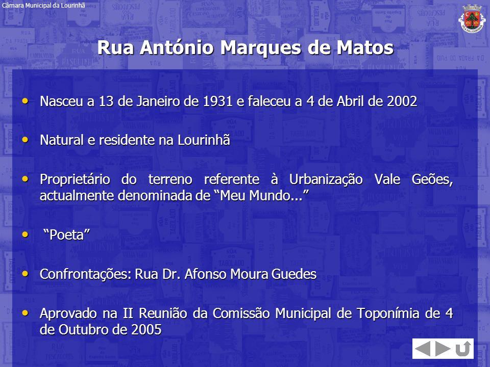 Rua António Marques de Matos Nasceu a 13 de Janeiro de 1931 e faleceu a 4 de Abril de 2002 Nasceu a 13 de Janeiro de 1931 e faleceu a 4 de Abril de 20
