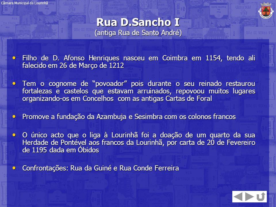 Rua D.Sancho I (antiga Rua de Santo André) Filho de D. Afonso Henriques nasceu em Coimbra em 1154, tendo ali falecido em 26 de Março de 1212 Filho de