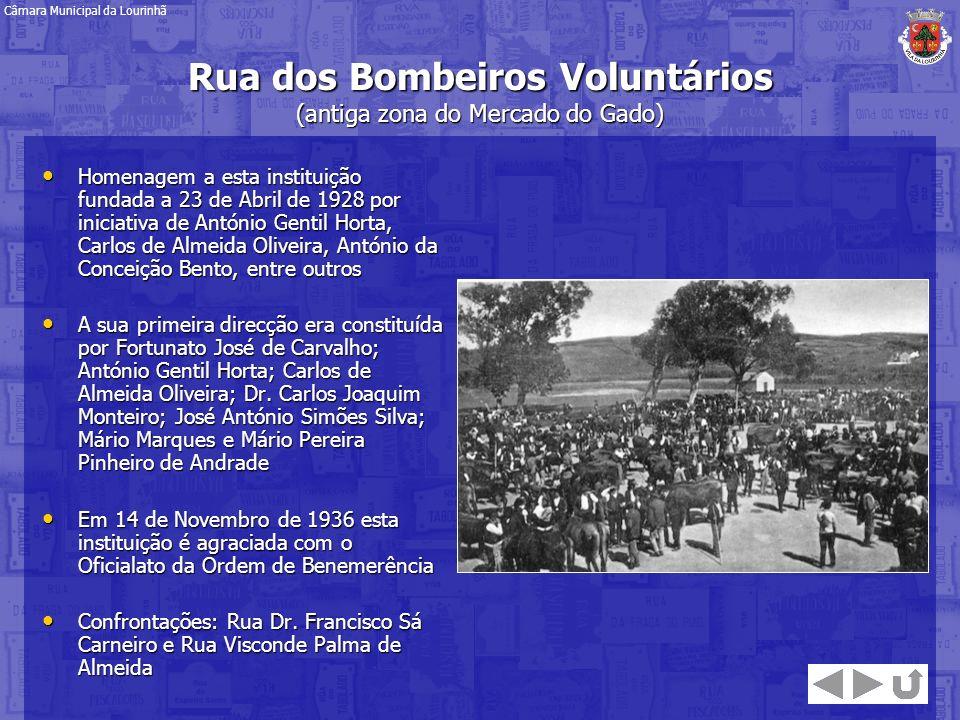 Rua dos Bombeiros Voluntários (antiga zona do Mercado do Gado) Homenagem a esta instituição fundada a 23 de Abril de 1928 por iniciativa de António Ge