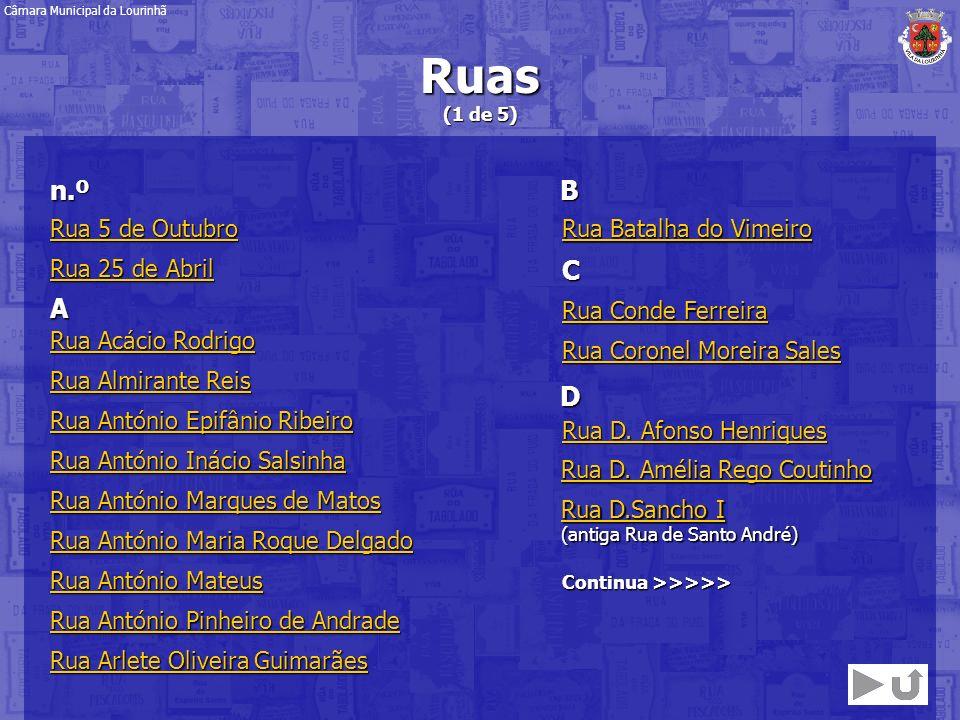 Ruas (1 de 5) Câmara Municipal da Lourinhã Rua António Mateus Rua António Mateus Rua Arlete Oliveira Guimarães Rua Arlete Oliveira Guimarães Rua Acáci