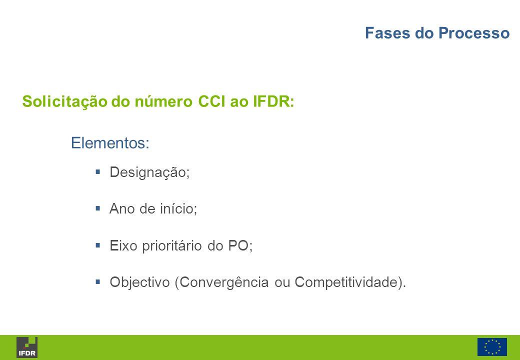 Elementos: Designação; Ano de início; Eixo prioritário do PO; Objectivo (Convergência ou Competitividade). Solicitação do número CCI ao IFDR: Fases do