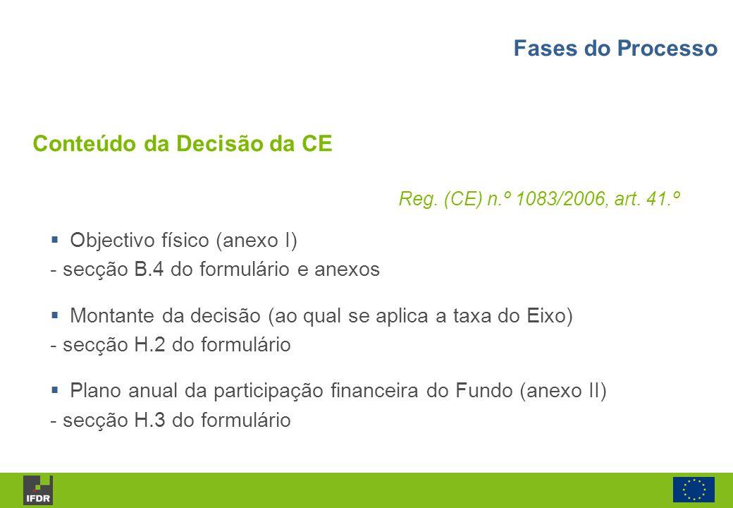 Reg. (CE) n.º 1083/2006, art. 41.º Objectivo físico (anexo I) - secção B.4 do formulário e anexos Montante da decisão (ao qual se aplica a taxa do Eix
