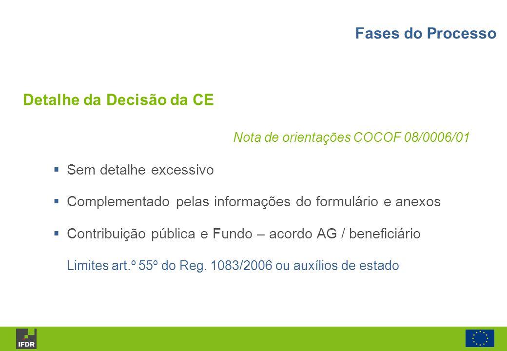 Nota de orientações COCOF 08/0006/01 Sem detalhe excessivo Complementado pelas informações do formulário e anexos Contribuição pública e Fundo – acord