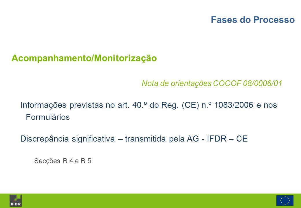 Acompanhamento/Monitorização Nota de orientações COCOF 08/0006/01 Informações previstas no art. 40.º do Reg. (CE) n.º 1083/2006 e nos Formulários Disc