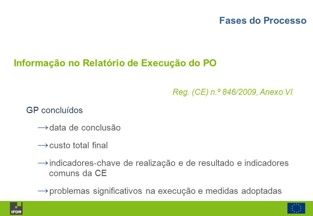 Informação no Relatório de Execução do PO Reg. (CE) n.º 846/2009, Anexo VI GP concluídos data de conclusão custo total final indicadores-chave de real