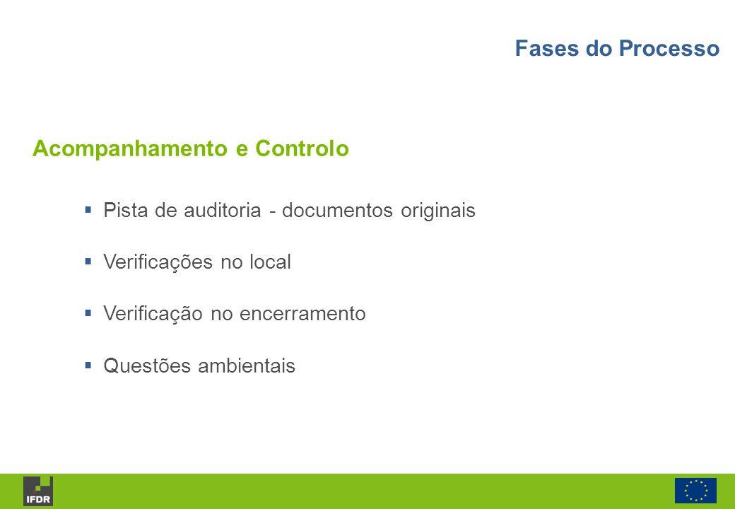 Acompanhamento e Controlo Pista de auditoria - documentos originais Verificações no local Verificação no encerramento Questões ambientais Fases do Pro
