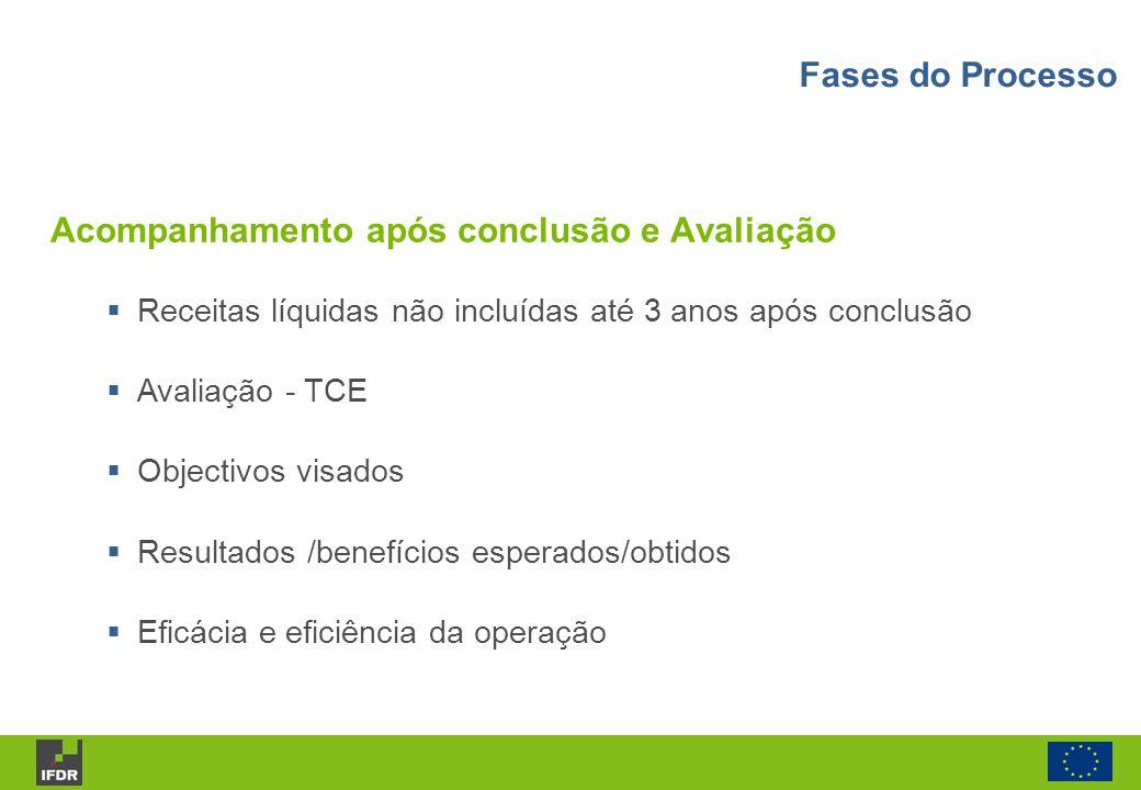 Acompanhamento após conclusão e Avaliação Receitas líquidas não incluídas até 3 anos após conclusão Avaliação - TCE Objectivos visados Resultados /ben