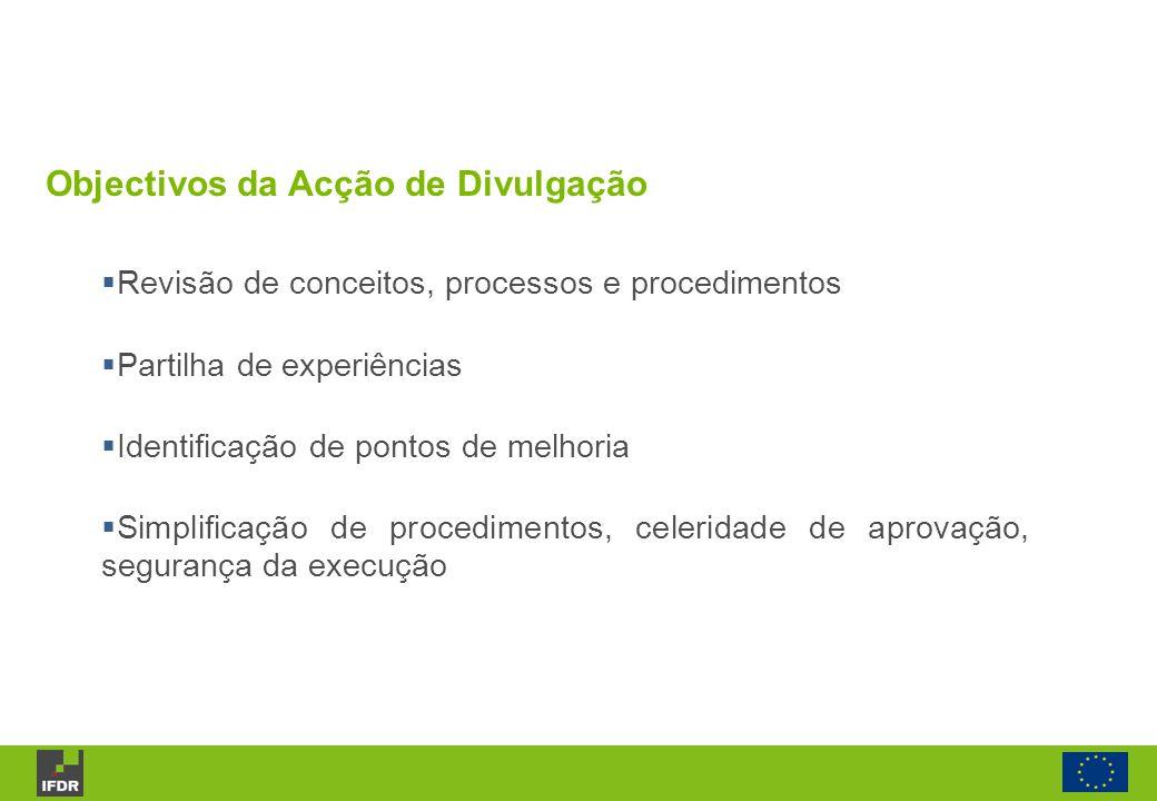 Objectivos da Acção de Divulgação Revisão de conceitos, processos e procedimentos Partilha de experiências Identificação de pontos de melhoria Simplif