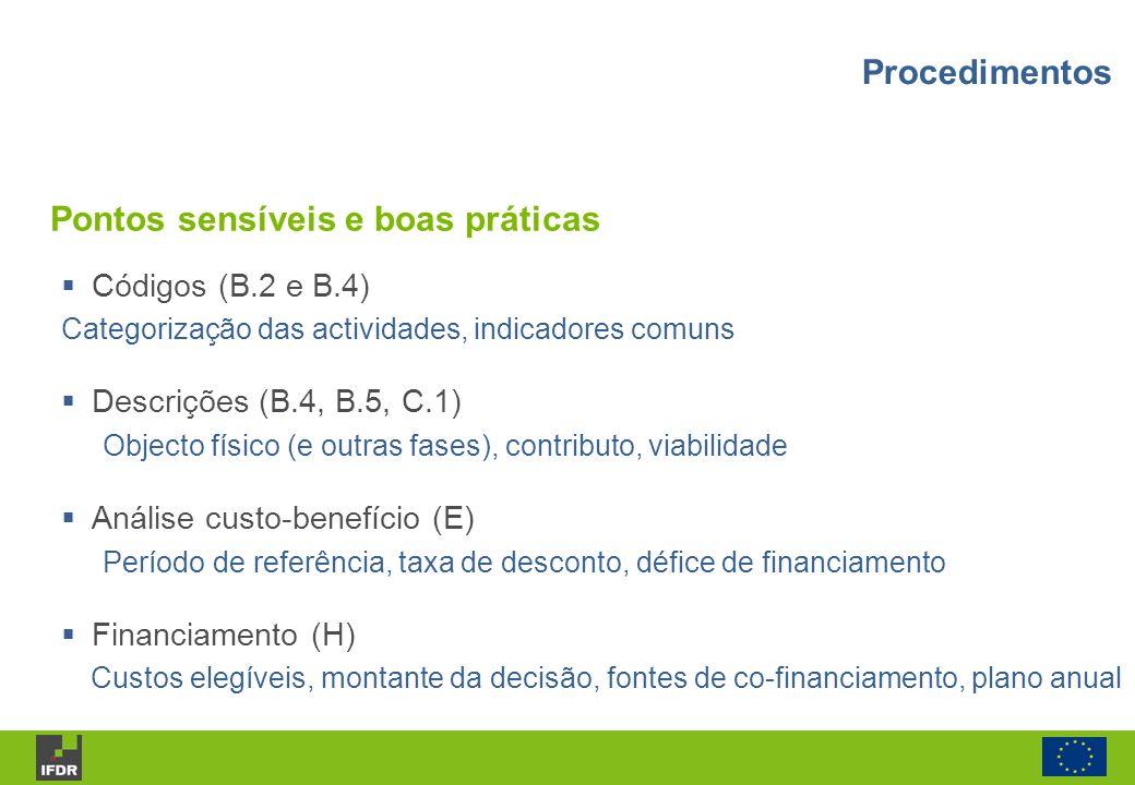 Códigos (B.2 e B.4) Categorização das actividades, indicadores comuns Descrições (B.4, B.5, C.1) Objecto físico (e outras fases), contributo, viabilid