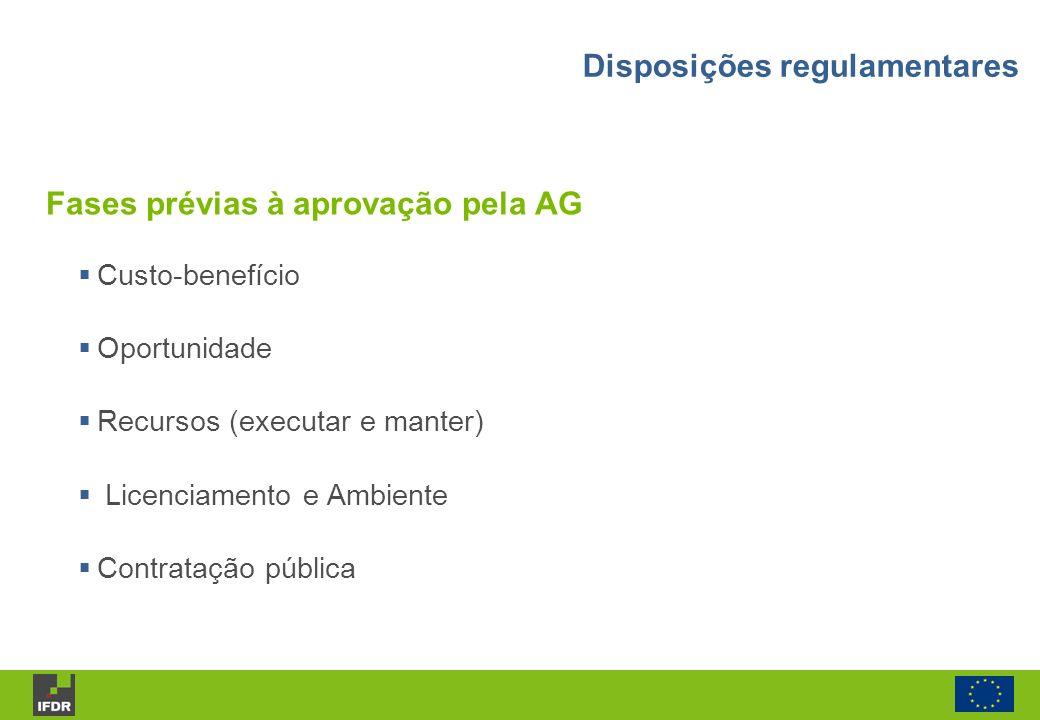 Custo-benefício Oportunidade Recursos (executar e manter) Licenciamento e Ambiente Contratação pública Fases prévias à aprovação pela AG Disposições r