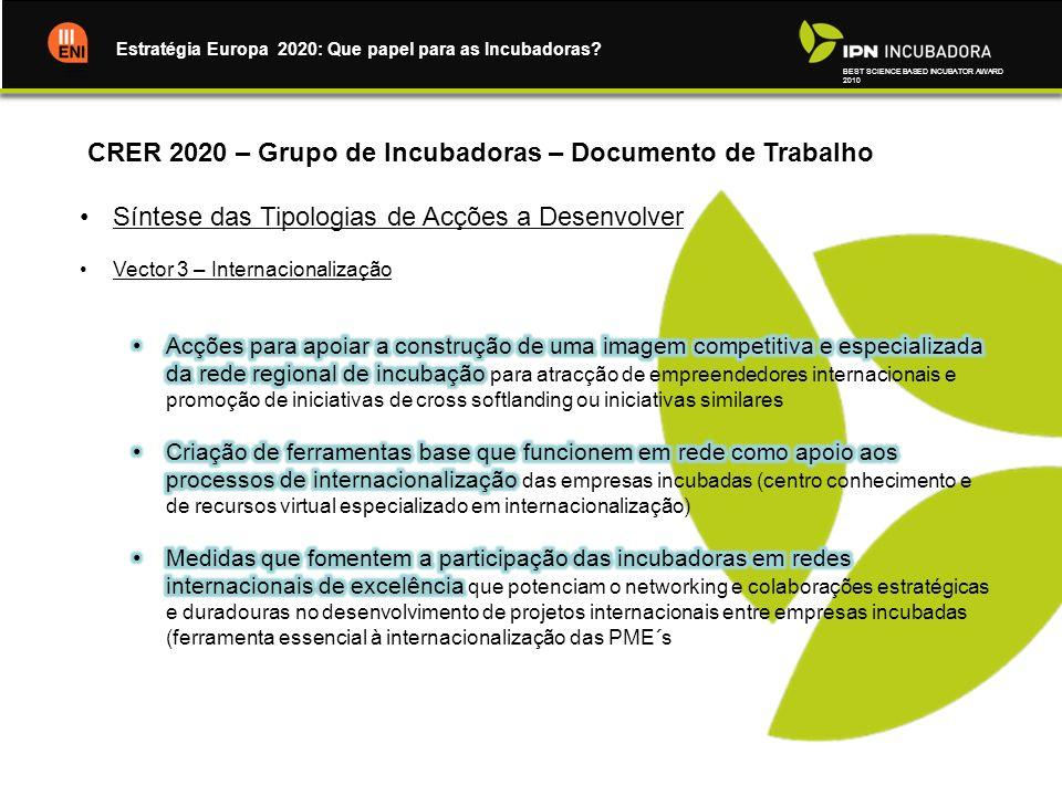 BEST SCIENCE BASED INCUBATOR AWARD 2010 Estratégia Europa 2020: Que papel para as Incubadoras?