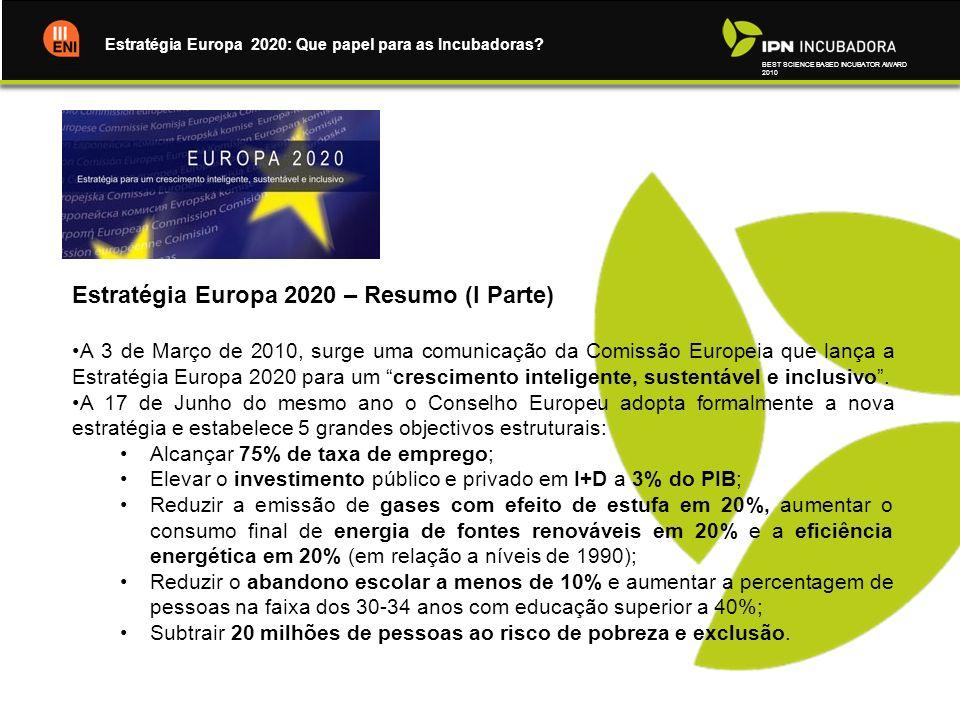 BEST SCIENCE BASED INCUBATOR AWARD 2010 Estratégia Europa 2020: Que papel para as Incubadoras? Estratégia Europa 2020 – Resumo (I Parte) A 3 de Março