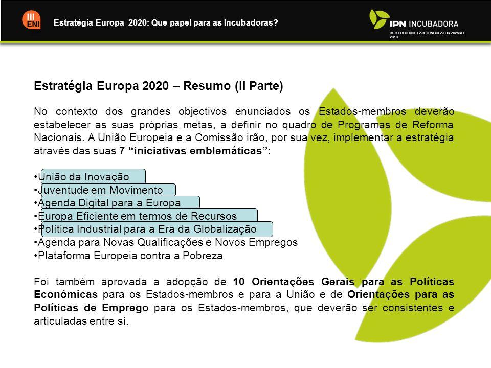 BEST SCIENCE BASED INCUBATOR AWARD 2010 Estratégia Europa 2020: Que papel para as Incubadoras? Estratégia Europa 2020 – Resumo (II Parte) No contexto