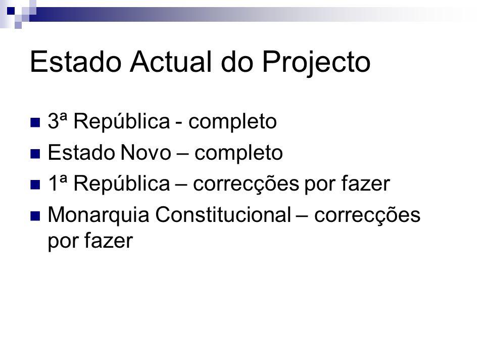Estado Actual do Projecto 3ª República - completo Estado Novo – completo 1ª República – correcções por fazer Monarquia Constitucional – correcções por