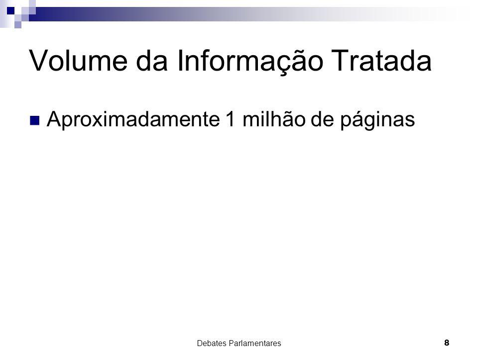 Debates Parlamentares8 Volume da Informação Tratada Aproximadamente 1 milhão de páginas
