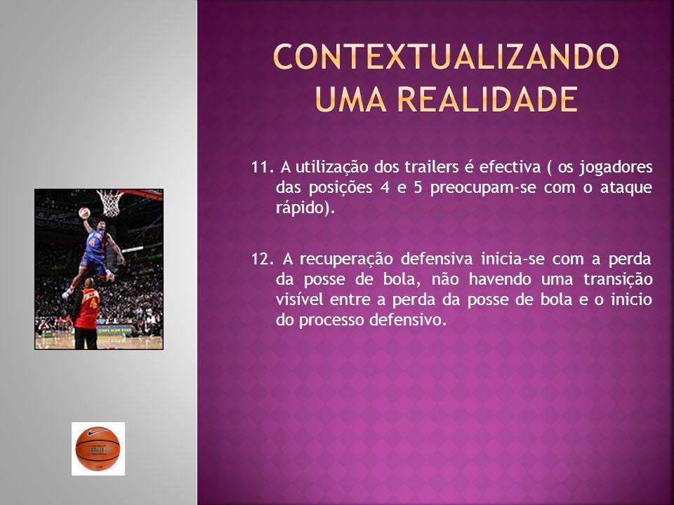 11. A utilização dos trailers é efectiva ( os jogadores das posições 4 e 5 preocupam-se com o ataque rápido). 12. A recuperação defensiva inicia-se co