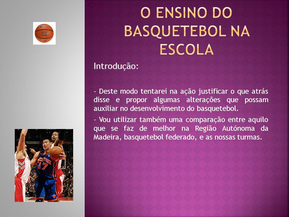Introdução: - Deste modo tentarei na ação justificar o que atrás disse e propor algumas alterações que possam auxiliar no desenvolvimento do basqueteb