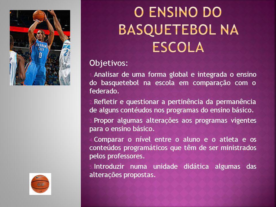Objetivos: 1. Analisar de uma forma global e integrada o ensino do basquetebol na escola em comparação com o federado. 2. Refletir e questionar a pert