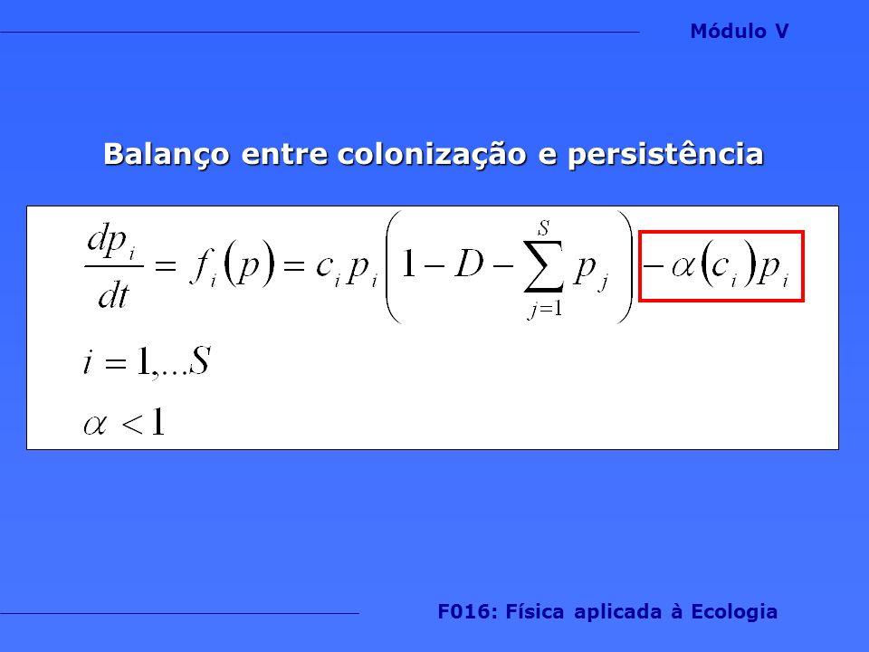Balanço entre colonização e persistência 1 Módulo V F016: Física aplicada à Ecologia