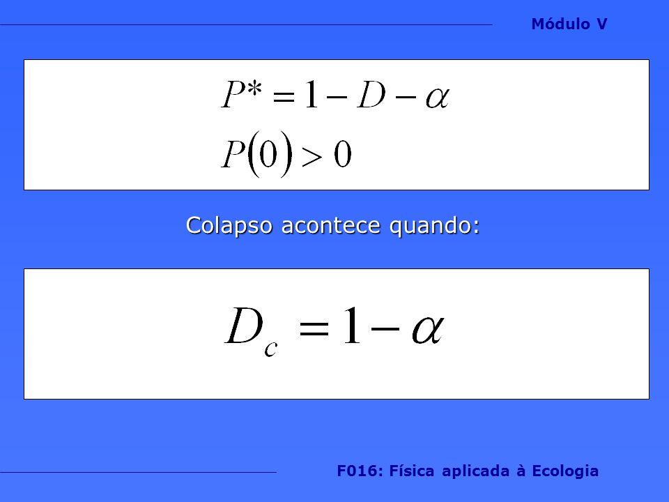 Módulo V F016: Física aplicada à Ecologia Colapso acontece quando: