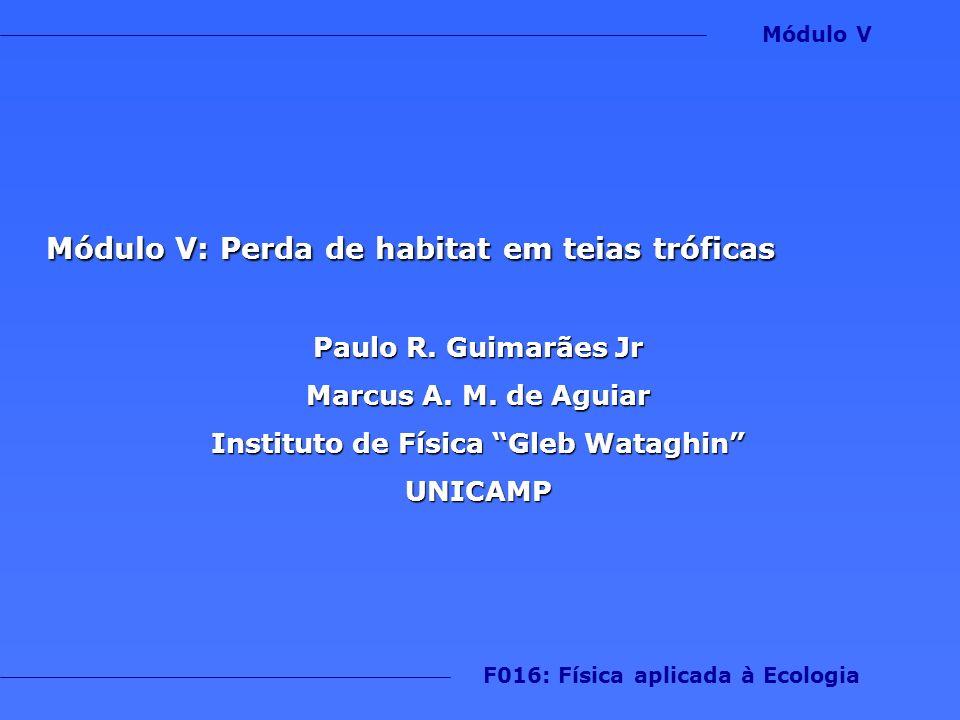 Módulo V: Perda de habitat em teias tróficas Paulo R. Guimarães Jr Marcus A. M. de Aguiar Instituto de Física Gleb Wataghin UNICAMP F016: Física aplic