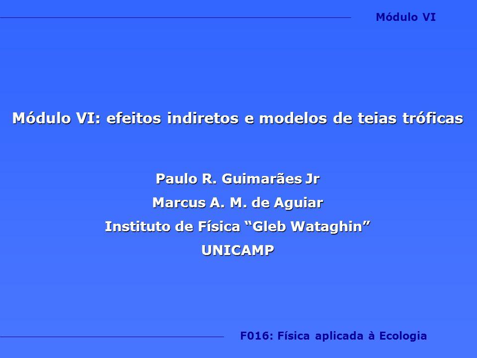 Módulo VI: efeitos indiretos e modelos de teias tróficas Paulo R. Guimarães Jr Marcus A. M. de Aguiar Instituto de Física Gleb Wataghin UNICAMP F016: