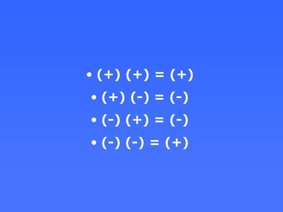 (+) (+) = (+) (+) (-) = (-) (-) (+) = (-) (-) (-) = (+)