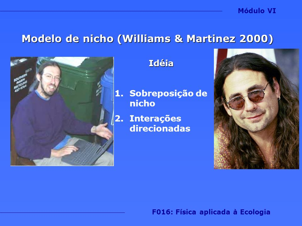 Modelo de nicho (Williams & Martinez 2000) Idéia 1.Sobreposição de nicho 2.Interações direcionadas Módulo VI F016: Física aplicada à Ecologia