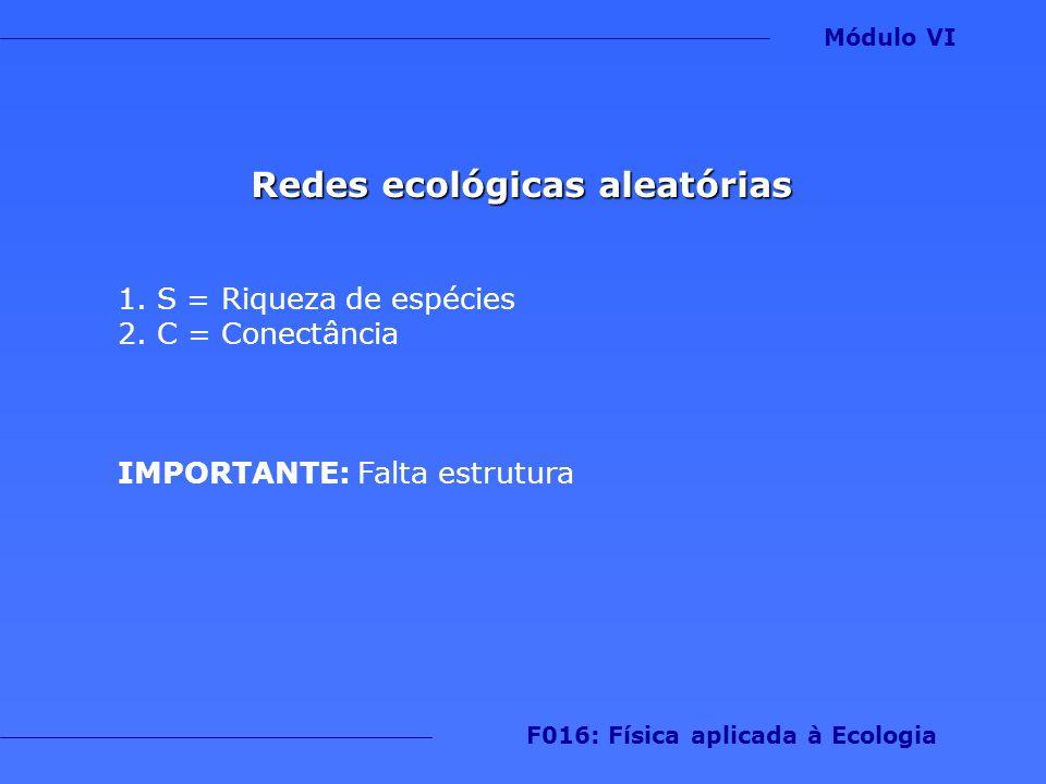 Modelo de cascata Passos 1.Numere as espécies de 1 a N 2.Cada espécie pode predar apenas espécies de postos menores Módulo VI F016: Física aplicada à Ecologia