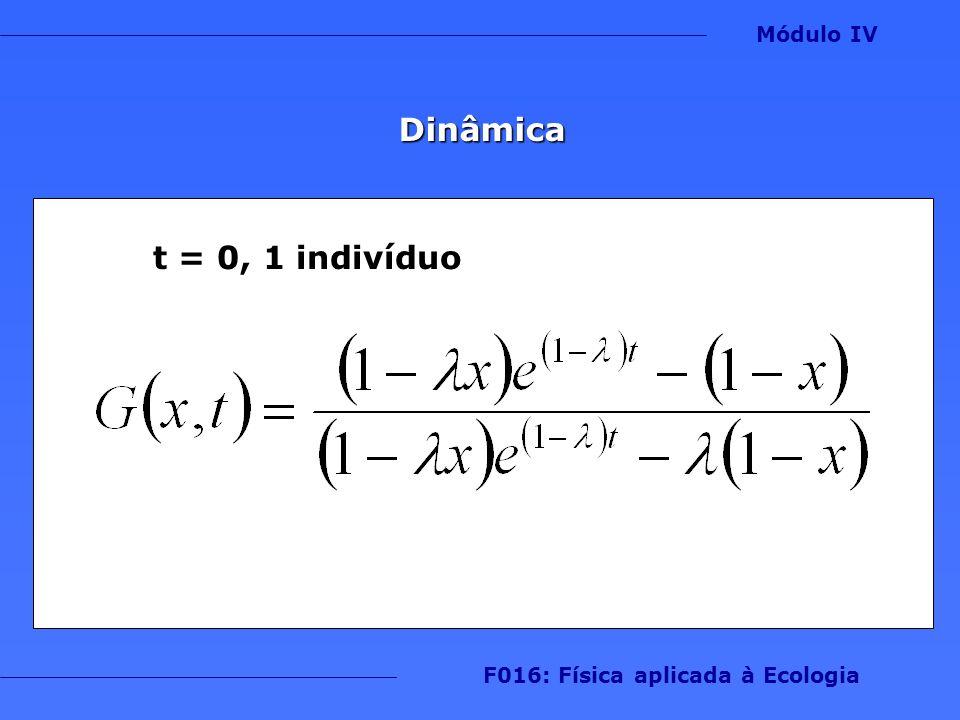 Dinâmica Módulo IV F016: Física aplicada à Ecologia t = 0, 1 indivíduo