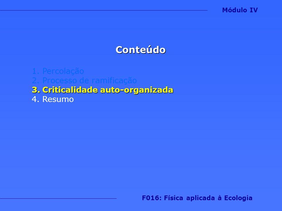 Conteúdo 1.Percolação 2.Processo de ramificação 3.Criticalidade auto-organizada 4.Resumo Módulo IV F016: Física aplicada à Ecologia