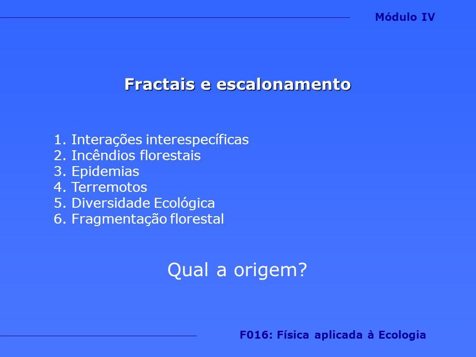Fractais e escalonamento 1.Interações interespecíficas 2.Incêndios florestais 3.Epidemias 4.Terremotos 5.Diversidade Ecológica 6.Fragmentação floresta